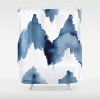 ikat Shower Curtains featuring Ikat Chevron by Mai Autumn