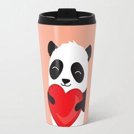 Panda love. Cute cartoon illustration Travel Mug