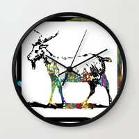 goat Wall Clocks featuring Goat by LoRo  Art & Pictures