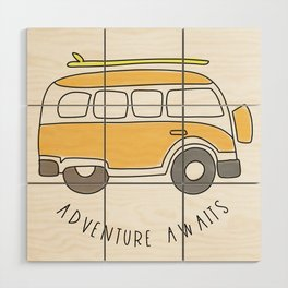 The Surf Life | Yellow Adventure Bus Wood Wall Art