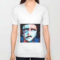 poe V-neck T-shirts featuring Poe by J. John Whitmore