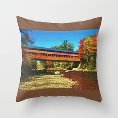 Call bridge on burlap Throw Pillow