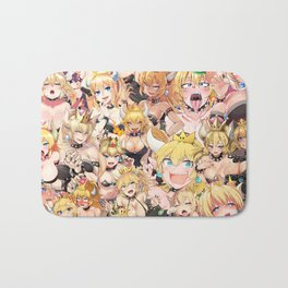 Bowsette Manga Anime Girls Collage in Colour Bath Mat