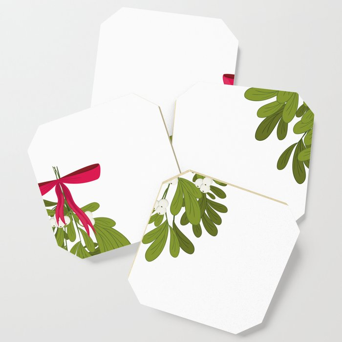 Mistletoe Over Penis Funny Christmas Holiday Coaster By