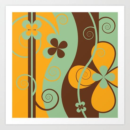 Modern Retro Floral Graphic Art Art Print