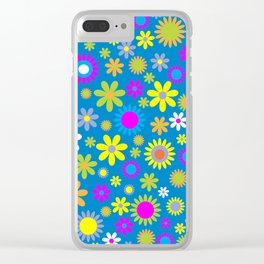 """1960's """"Flower Power"""" Print Clear iPhone Case"""