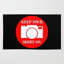 Camera Keep Your Shirt On Rug