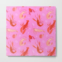 Dance of the Crustaceans in Conch Pink Metal Print