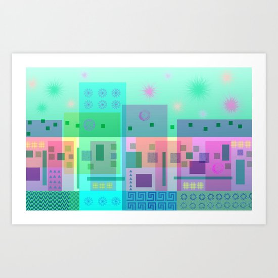 Turquoise Square Dance Art Print
