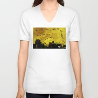 airplanes V-neck T-shirts featuring airplanes and cigarettes by Trevor Bittinger