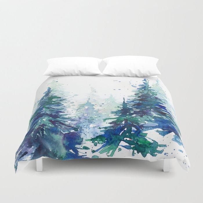 Watercolor winter fir forest Christmas Bettbezug