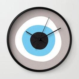 Warm Grey Evil Eye Symbol Wall Clock