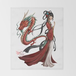 Chinese dragon pure Throw Blanket