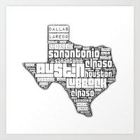 texas Art Prints featuring Texas! by Brandi Fitz Arts