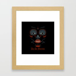 Mexican girl in tattoo style with traditional make-up Framed Art Print