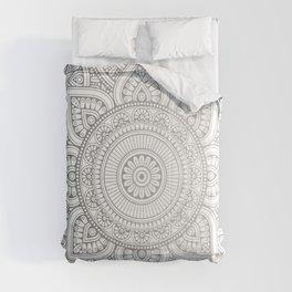 Silver Mandala Pattern Illustration Comforters