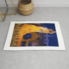 Spain 1933 Seville April Fair Travel Poster Rug