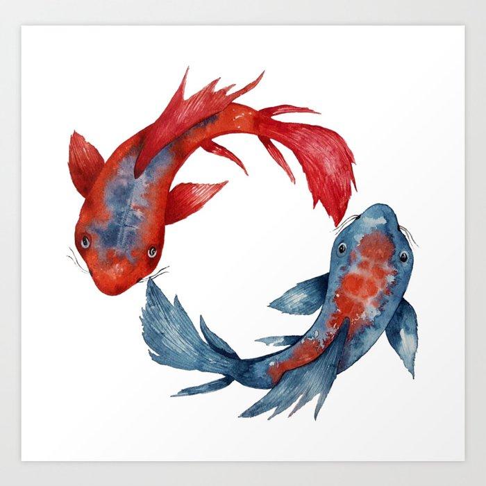 Yin Yang Koi Fish Art Print By Zuskaart Society6