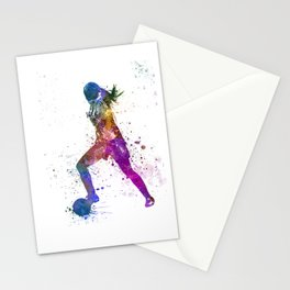 Girl playing soccer football player silhouette Stationery Cards