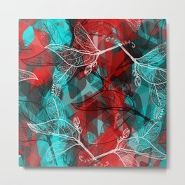Abstract geometric pattern with Leaves contours. red maroo Metal Print