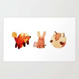 Cute Fuzzy Animals Art Print