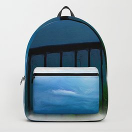view of the infinite blue sea oil painting Backpack