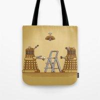 dalek Tote Bags featuring Dalek DIY by Doodle Dojo