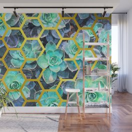 Succulent Geometric Modern Illustration Wall Mural