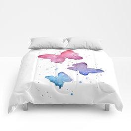 Butterflies Watercolor Abstract Splatters Comforters