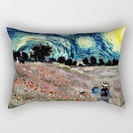 Monet's Poppies with Van Gogh's Starry Night Sky Rectangular Pillow