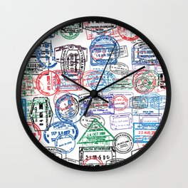 Passport Stamps Wall Clock