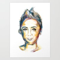 miley cyrus Art Prints featuring Miley Cyrus by caffeboy