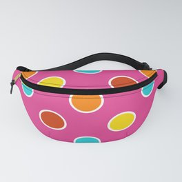 Geometric Candy Dot Circles In Bright Summer Multi Colors - Pink Yellow Orange Red Turquoise Fanny Pack