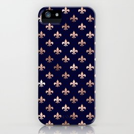 Royal Blue Rose Gold Pattern iPhone Case