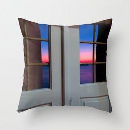 Sunset through the door Throw Pillow