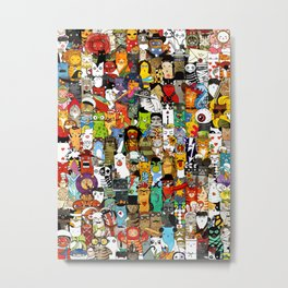 Funny Characters Collage — Culture & Science By Cats Metal Print