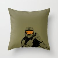 master chief Throw Pillows featuring Master Chief Redux by Anthony Bellus