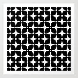 Mid Century Modern Star Pattern Black and White 2 Art Print