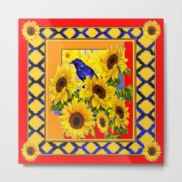 BLUE CROW & YELLOW SUNFLOWERS  RED  LATTICE ART Metal Print