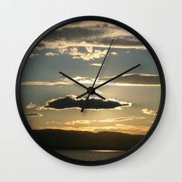 Vermont evening sky over lake champlain II Wall Clock