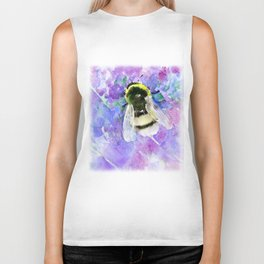 Bumblebee and Lavender Flowers Herbal Bee Honey Purple Floral design Biker Tank