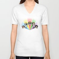 powerpuff girls V-neck T-shirts featuring Powerpuff!Direction by Cyrilliart