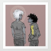 grantaire Art Prints featuring Enjolras and Grantaire by icarusdrunk