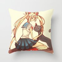 sailor moon Throw Pillows featuring Sailor Moon! by SweetOwls