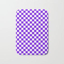 White and Indigo Violet Checkerboard Bath Mat