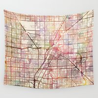 las vegas Wall Tapestries featuring Las Vegas by MapMapMaps.Watercolors