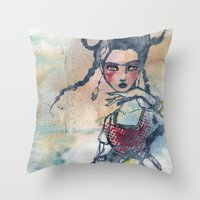 jane davenport Throw Pillows featuring Frida is an Emotion by Jane Davenport by Jane Davenport