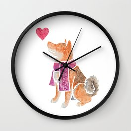 Watercolour Shiba Inu Wall Clock