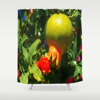 pomegranate Shower Curtains featuring Pomegranate by Ricarda Balistreri