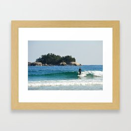 Lone Korean gets a wave on the 38th Parallel, South Korea. Framed Art Print